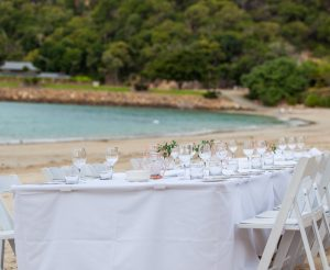 Catseye Beach - white dinner set up